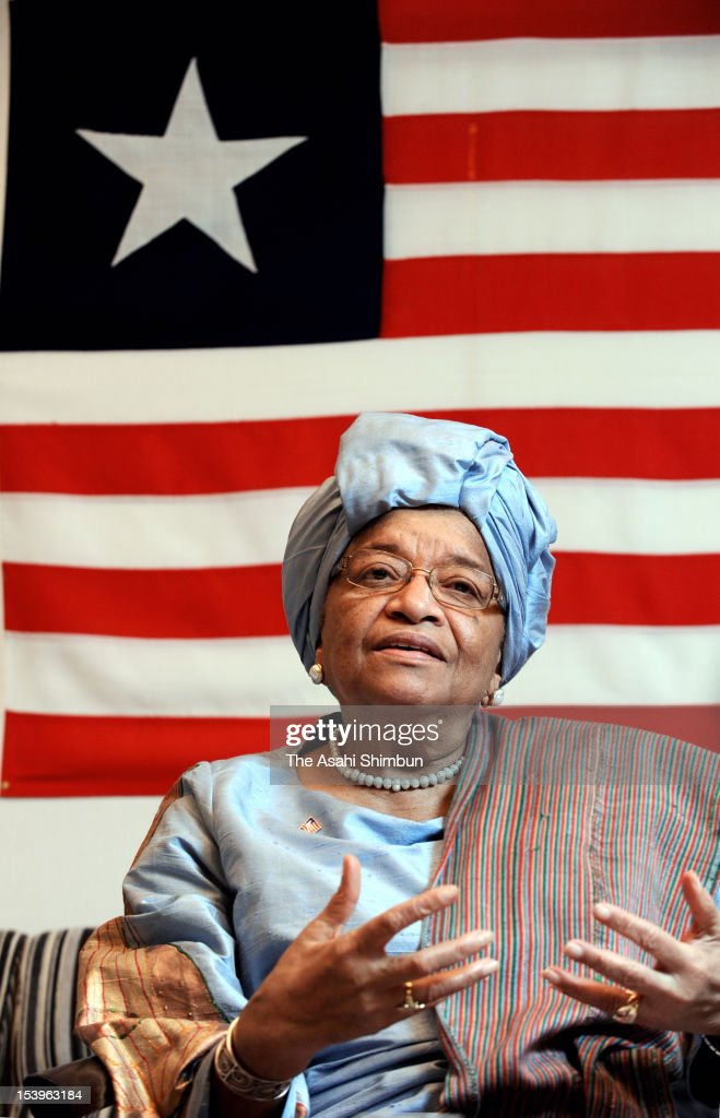 Liberian President and Nobel Peace Prize laureate Ellen Johnson Sirleaf speaks during an interview on October 11, 2012 in Tokyo, Japan. Johnson Sirleaf is on the 7-day visit to Japan.