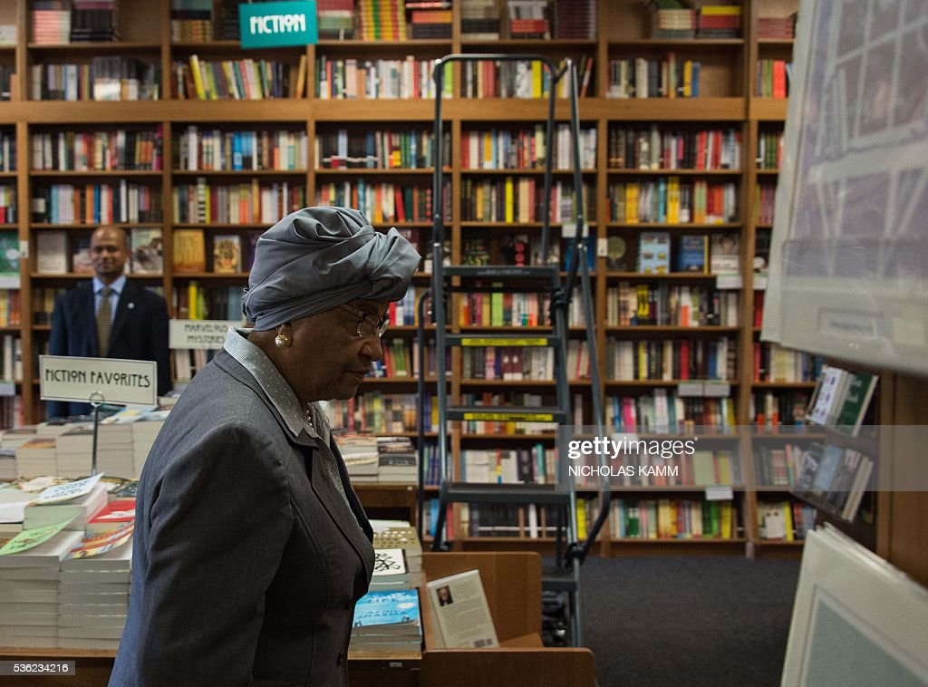 Liberian President Ellen Johnson Sirleaf arrives at the Politics and Prose bookstore in Washington, DC, on May 31, 2016 for the launch of a book about by K. Riva Levinson, president and CEO of KRL International LLC, a Washington communications and government relations firm that serves as the consultancy of record for Liberia. / AFP / Nicholas Kamm