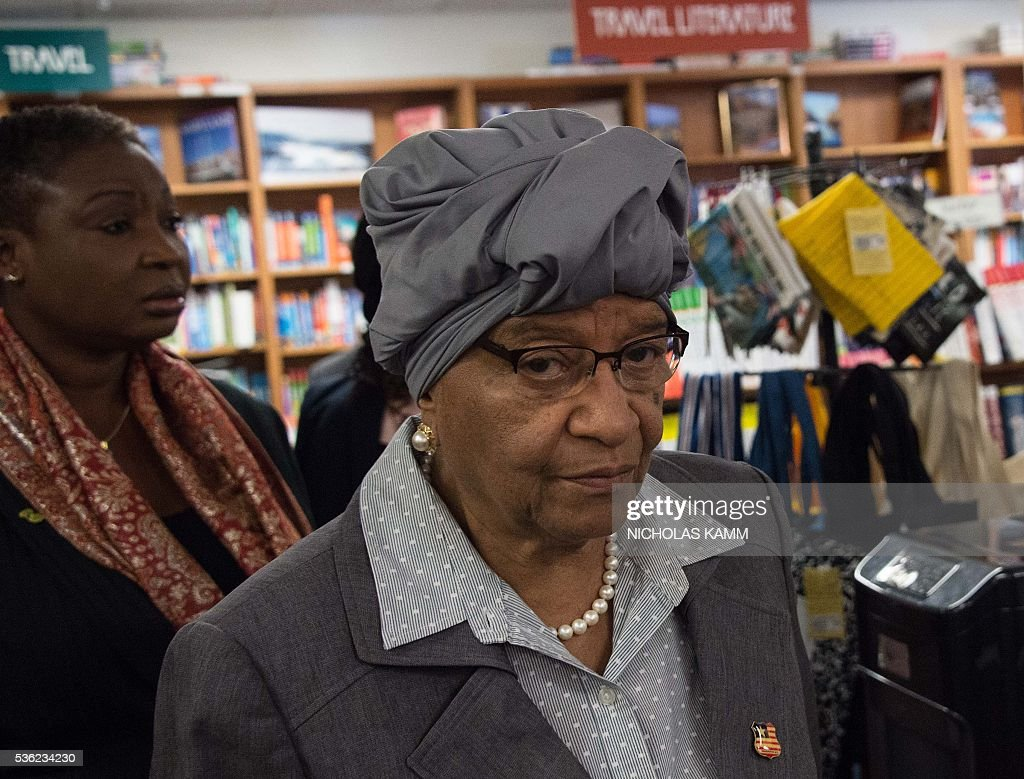 Liberian President Ellen Johnson Sirleaf arrives at the Politics and Prose bookstore in Washington, DC, on May 31, 2016 for the launch of a book about by K. Riva Levinson, president and CEO of KRL International LLC, a Washington communications and government relations firm that serves as the consultancy of record for Liberia. / AFP / NICHOLAS