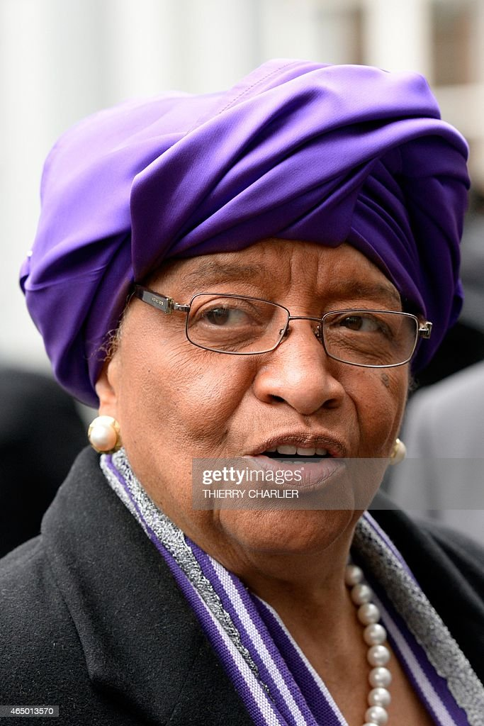 Liberian President <a gi-track='captionPersonalityLinkClicked' href=/galleries/search?phrase=Ellen+Johnson+Sirleaf&family=editorial&specificpeople=547358 ng-click='$event.stopPropagation()'>Ellen Johnson Sirleaf</a> arrives to attend a conference on Ebola on March 3, 2015 in Brussels. Leaders of Ebola-hit countries in west Africa attend an international conference in Brussels on March 3 to mobilise a final push to end the outbreak and ensure the delivery of nearly $5 billion in aid pledges. AFP PHOTO / THIERRY CHARLIER