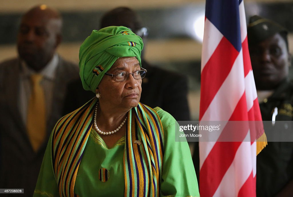 Liberian President <a gi-track='captionPersonalityLinkClicked' href=/galleries/search?phrase=Ellen+Johnson+Sirleaf&family=editorial&specificpeople=547358 ng-click='$event.stopPropagation()'>Ellen Johnson Sirleaf</a> attends a press conference on October 14, 2014 in Monrovia, Liberia. She met with Norwegian Foreign Minister Borge Brende and USAID Administrator Rajiv Shah at her office at the Liberian Foreign Ministry. Sirleaf, winner of the 2011 Nobel Peace Prize, has called on the international community to do more to help combat the Ebola epidemic that has killed more than 4,400 people in West Africa, according to the World Health Organization, with roughly half of that total in Liberia.