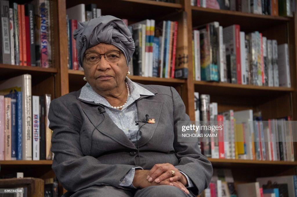Liberian President Ellen Johnson Sirleaf attends the launch of a book about by K. Riva Levinson, president and CEO of KRL International LLC, a Washington communications and government relations firm that serves as the consultancy of record for Liberia, at the Politics and Prose bookstore in Washington, DC, on May 31, 2016. / AFP / NICHOLAS