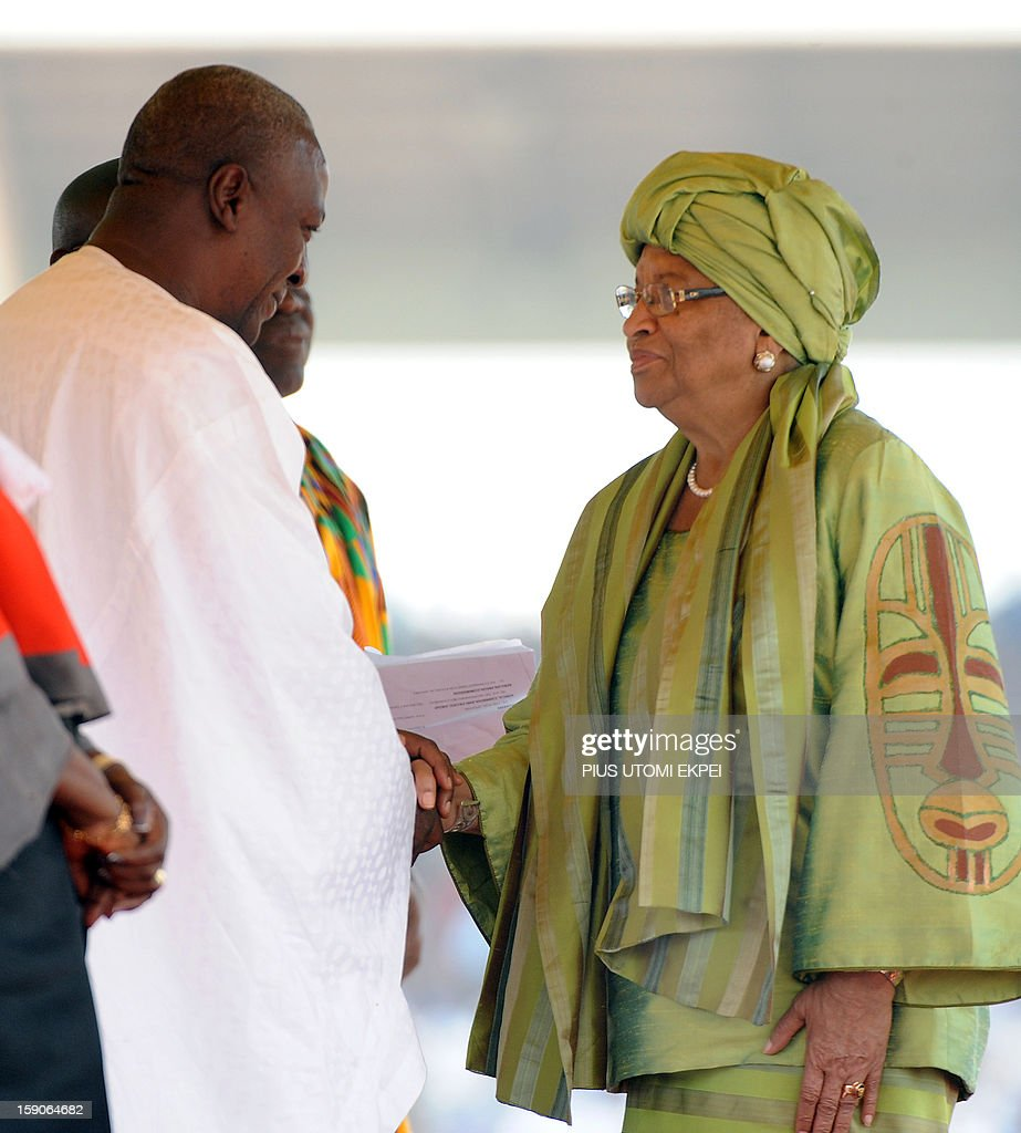 Liberian President Ellen Johnson Sirleaf (R) congratulates Ghanaian President John Mahama for his inauguration at the Independence Square, Accra in January 7, 2013. Ghanaian President John Dramani Mahama has been sworn-in into office despite a court challenge by the main opposition New Patriotic party, citing alleged voting fraud resulting in the absence of party officials at the swearing-in ceremony attended by nine heads of state.