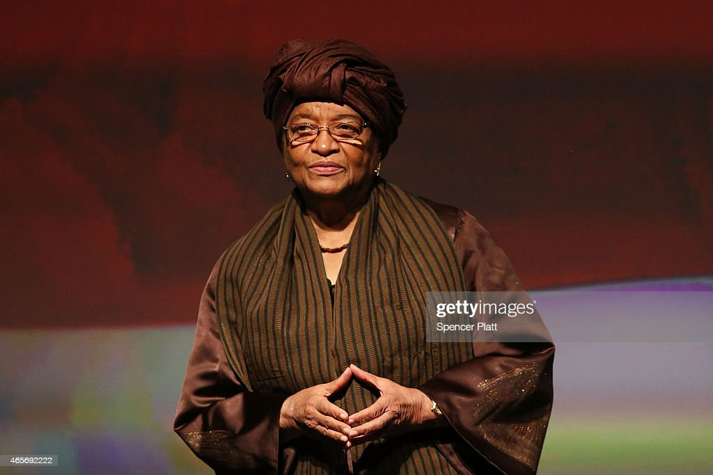 Liberian President <a gi-track='captionPersonalityLinkClicked' href=/galleries/search?phrase=Ellen+Johnson+Sirleaf&family=editorial&specificpeople=547358 ng-click='$event.stopPropagation()'>Ellen Johnson Sirleaf</a> joins former Secretary of State Hillary Rodham Clinton and Clinton Foundation Vice Chair Chelsea Clinton for the official release of the No Ceilings Full Participation Report which coincides with the start of the 59th session of the United NationsÕ Commission on the Status of Women on March 9, 2015 in New York City. Global and community leaders participated in the program which looked to highlight the findings showing 20 years of global data compiled by No Ceilings reveals that there is more to done to achieve Ôfull and equal participationÕ of women and girls worldwide.