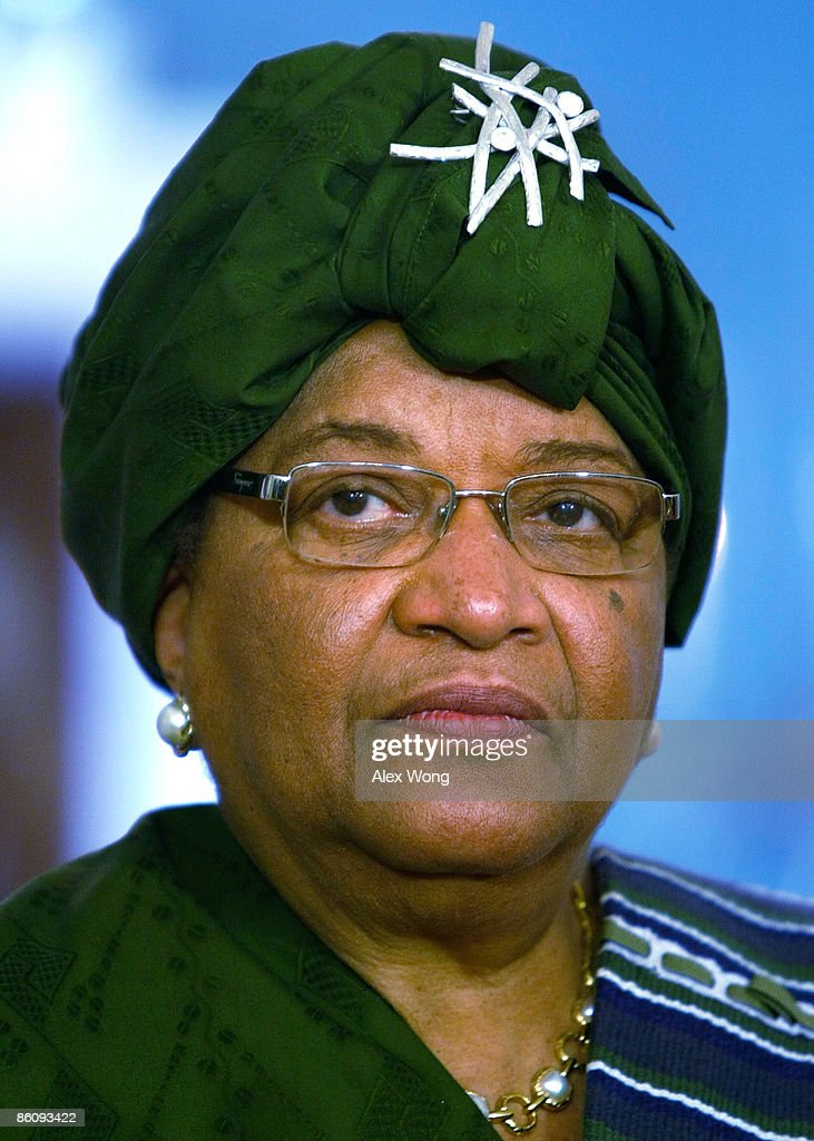 Liberian President <a gi-track='captionPersonalityLinkClicked' href=/galleries/search?phrase=Ellen+Johnson+Sirleaf&family=editorial&specificpeople=547358 ng-click='$event.stopPropagation()'>Ellen Johnson Sirleaf</a> listens during a joint press availability with U.S. Secretary of State Hillary Rodham Clinton at the Department of State April 21, 2009 in Washington, DC. Sirleaf was on book tour for her memoir 'This Child Will Be Great: Memoir of a Remarkable Life' in the United States.