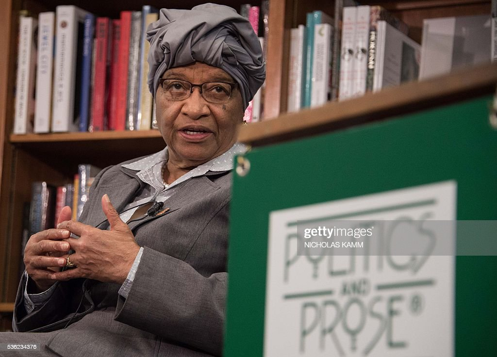 Liberian President Ellen Johnson Sirleaf speaks at the launch of a book about her by K. Riva Levinson, president and CEO of KRL International LLC, a Washington communications and government relations firm that serves as the consultancy of record for Liberia, at the Politics and Prose bookstore in Washington, DC, on May 31, 2016. / AFP / NICHOLAS