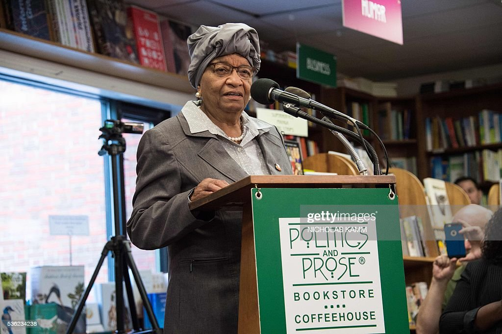 Liberian President Ellen Johnson Sirleaf speaks at the Politics and Prose bookstore in Washington, DC, on May 31, 2016 for the launch of a book about by K. Riva Levinson, president and CEO of KRL International LLC, a Washington communications and government relations firm that serves as the consultancy of record for Liberia. / AFP / Nicholas Kamm