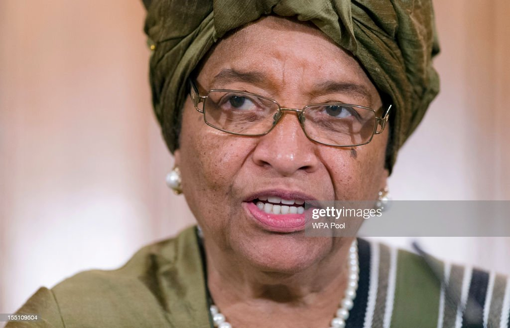 Liberian President <a gi-track='captionPersonalityLinkClicked' href=/galleries/search?phrase=Ellen+Johnson+Sirleaf&family=editorial&specificpeople=547358 ng-click='$event.stopPropagation()'>Ellen Johnson Sirleaf</a> speaks during a joint press conference following a UN High Level panel meeting in number 10, Downing Street on November 1, 2012 in London, England. During President Yudhoyono and his wife's three day State Visit to the UK they will stay in Buckingham Palace and meet with members of the Royal Family, Prime Minister David Cameron and lay a wreath at the Grave of the Unknown Warrior in Westminster Abbey.