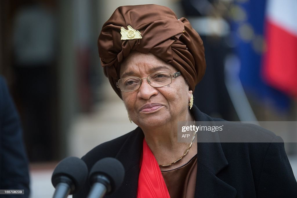 Liberian President <a gi-track='captionPersonalityLinkClicked' href=/galleries/search?phrase=Ellen+Johnson+Sirleaf&family=editorial&specificpeople=547358 ng-click='$event.stopPropagation()'>Ellen Johnson Sirleaf</a> speaks to journalists after a meeting with her French counterpart Francois Hollande, in Paris on November 7, 2012. AFP PHOTO BERTRAND LANGLOIS