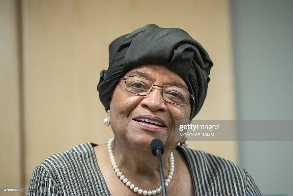 Liberian President <a gi-track='captionPersonalityLinkClicked' href=/galleries/search?phrase=Ellen+Johnson+Sirleaf&family=editorial&specificpeople=547358 ng-click='$event.stopPropagation()'>Ellen Johnson Sirleaf</a> speaks to the press following a meeting on the response to the Ebola crisis at the IMF/WB Spring Meetings in Washington, DC, on April 17, 2015. AFP PHOTO/NICHOLAS KAMM