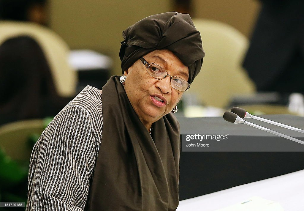 Liberian President Ellen Johnson-Sirleaf addresses the U.N. General Assembly on September 24, 2013 in New York City. Over 120 prime ministers, presidents and monarchs are gathering this week for the annual meeting at the temporary General Assembly Hall at the U.N. headquarters while the General Assembly Building is closed for renovations.