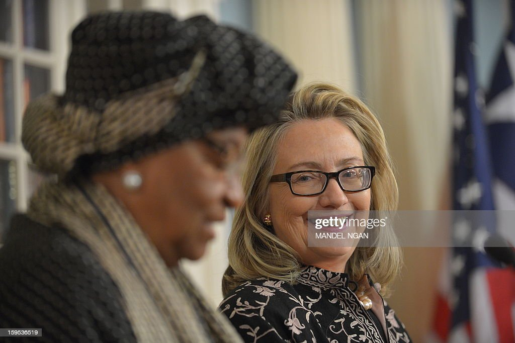 Liberian President Ellen Sirleaf Johnson(L) and US Secretary of State Hillary Clinton speak to the press following a bilateral meeting at the State Department January 15, 2013 in Washington, DC. AFP PHOTO/Mandel NGAN