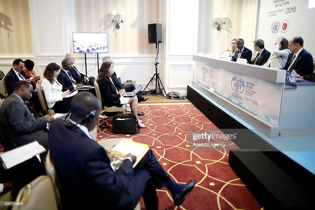 Liberia's Commerce and Industry Minister Axel Addy (right 4) speaks during a session under the theme ''Diversifying the Financing Tool-box and Managing Vulnerability'' during the Midterm Review of the Istanbul Programme of Action at Titanic Hotel in Antalya, Turkey on May 27, 2016. The Midterm Review conference for the Istanbul Programme of Action for the Least Developed Countries takes place in Antalya, Turkey from 27-29 May 2016.