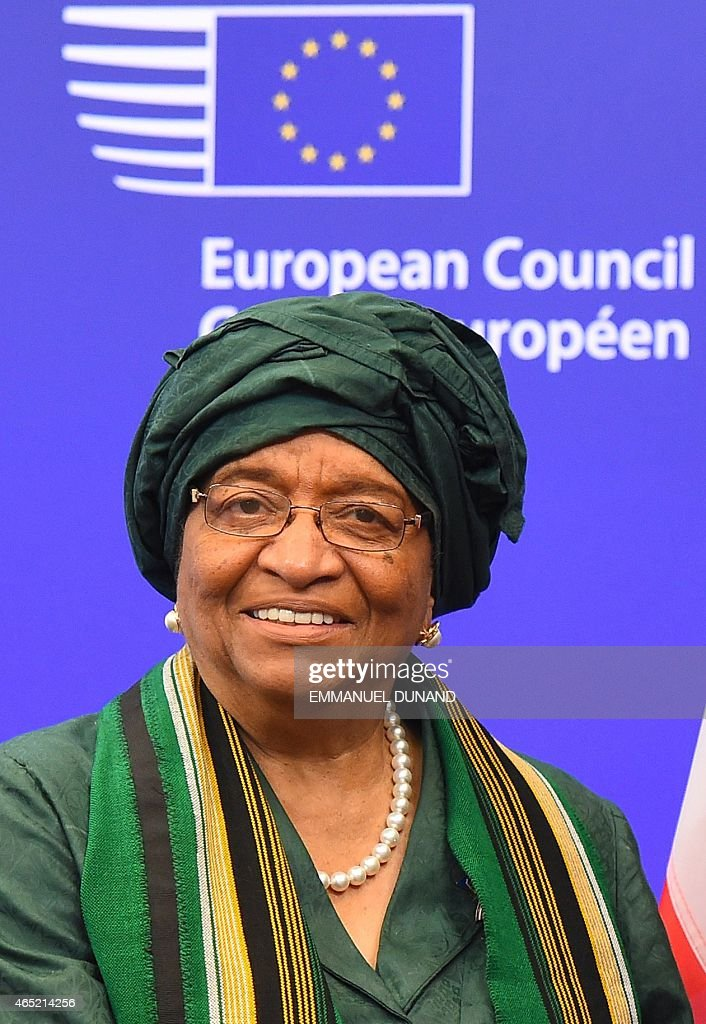Liberia's President <a gi-track='captionPersonalityLinkClicked' href=/galleries/search?phrase=Ellen+Johnson+Sirleaf&family=editorial&specificpeople=547358 ng-click='$event.stopPropagation()'>Ellen Johnson Sirleaf</a> is welcomed by European Council President Donald Tusk (Not in picture) at the European Council headquarters in Brussels, March 4, 2015. AFP PHOTO/Emmanuel Dunand