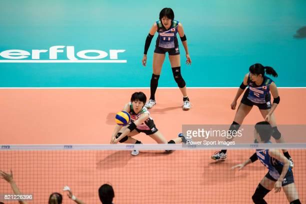 Libero Mako Kobata of Japan passes during the FIVB Volleyball World Grand Prix match between Japan vs Russia on July 23 2017 in Hong Kong Hong Kong