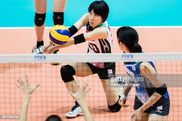 Libero Mako Kobata of Japan plays the ball during the FIVB Volleyball World Grand Prix Hong Kong 2017 match between Japan and Russia on July 23 2017...