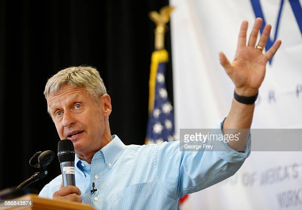 Libertarian presidential candidate Gary Johnson talks to a crowd of supporters at a rally on August 6 2015 in Salt Lake City Utah Johnson has spent...