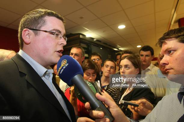 Libertas Press Officer John McGurk talking to media about the European Parliamentary Elections for the north west region as results are counted at...