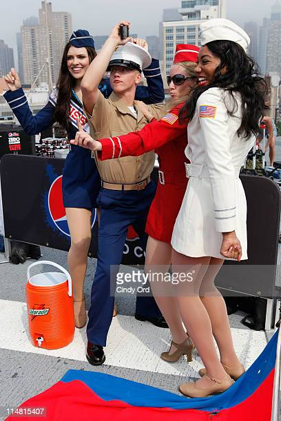 Liberty Bells dance with the troops on the USS Iwo Jima at Pier 88 on May 26 2011 in New York City