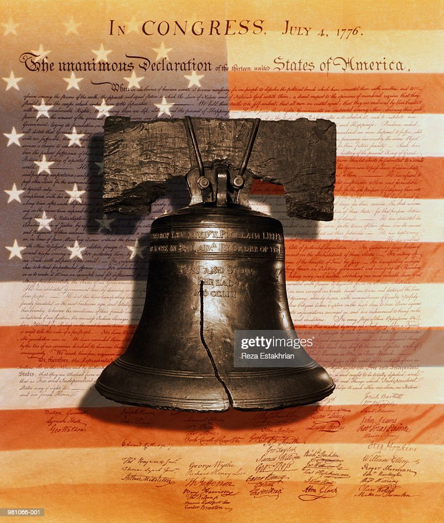 Liberty bell,US flag,Declaration of Independence (Digital Composite) : Stock Photo
