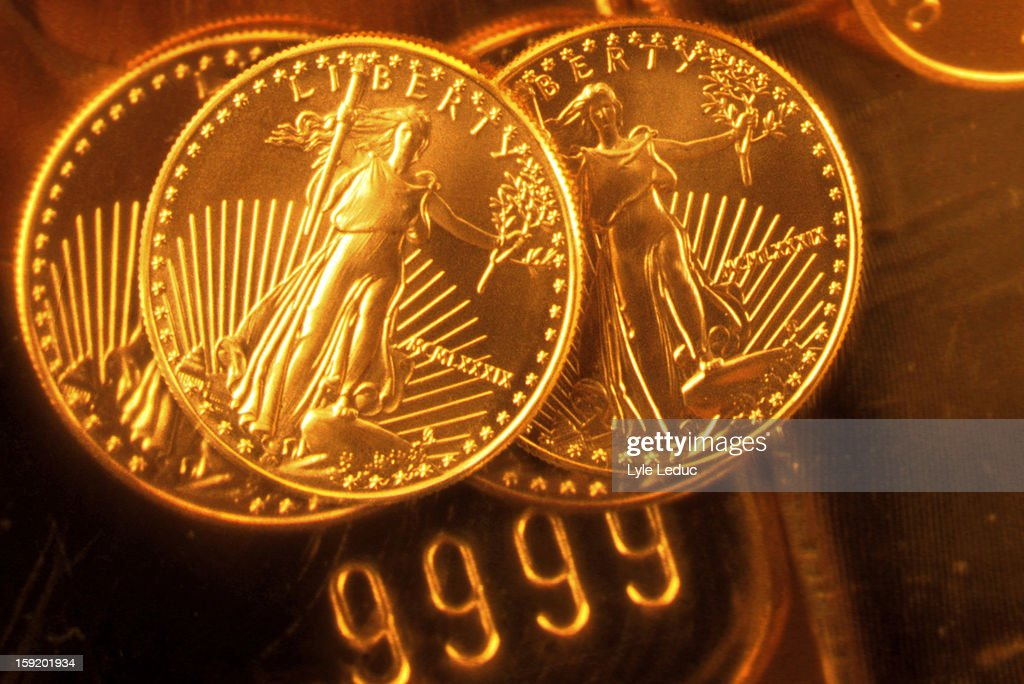 Liberty gold coins : Stock Photo