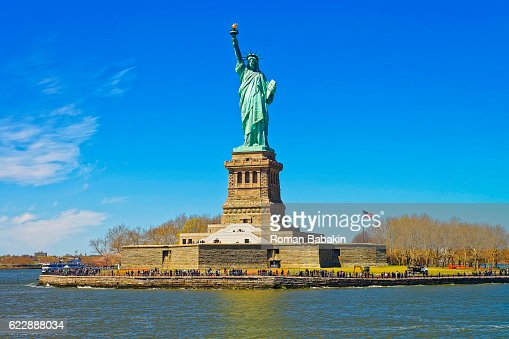 Liberty Island And Statue In Upper New York Bay Stock Photo Thinkstock
