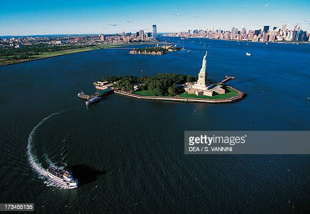 Liberty Island with Ellis Island and Manhattan in the background New York United States