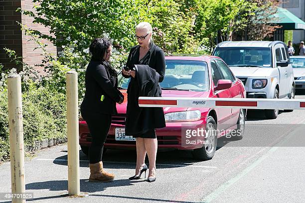 Liberty Jean Kasem and Jean Kasem the wife of ailing DJ Casey Kasem arrive to a court hearing at Kitsap County Courthouse on May 30 2014 in Port...
