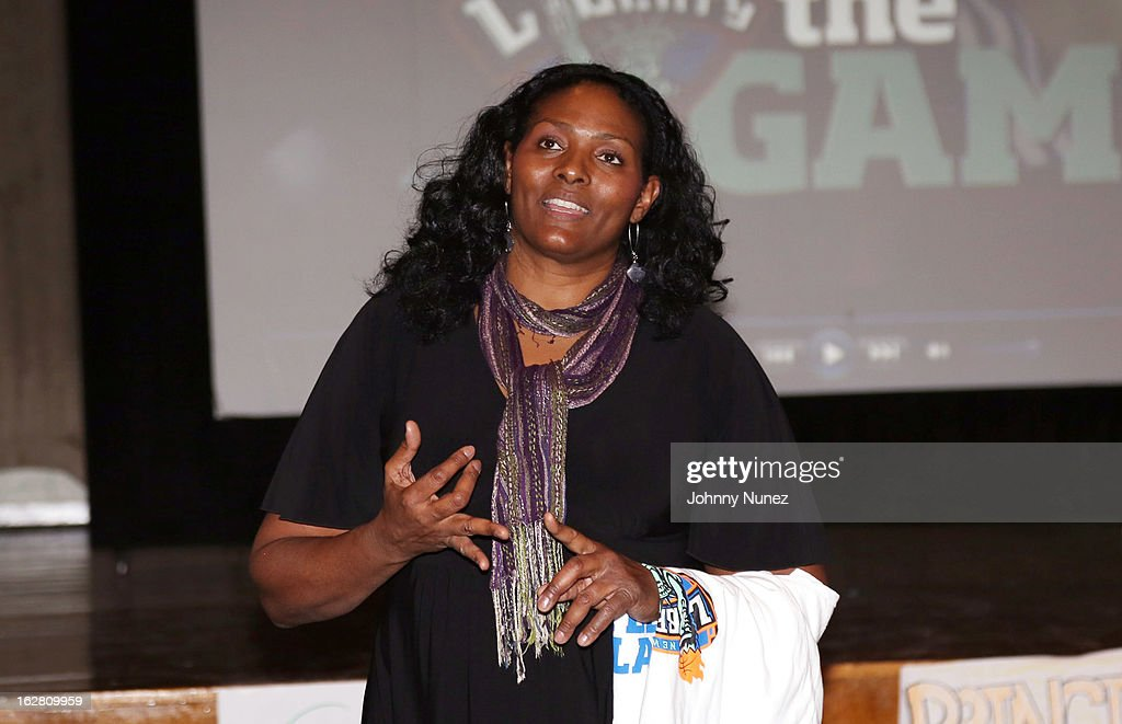 Liberty Player <a gi-track='captionPersonalityLinkClicked' href=/galleries/search?phrase=Kym+Hampton&family=editorial&specificpeople=577952 ng-click='$event.stopPropagation()'>Kym Hampton</a> speaks at the Jackie Robinson Elementary School on February 27, 2013, in New York City.