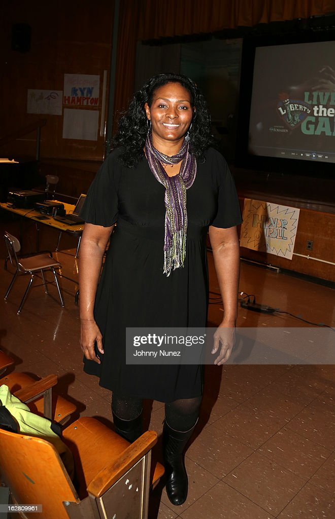 Liberty Player Kym Hampton speaks at the Jackie Robinson Elementary School on February 27, 2013, in New York City.