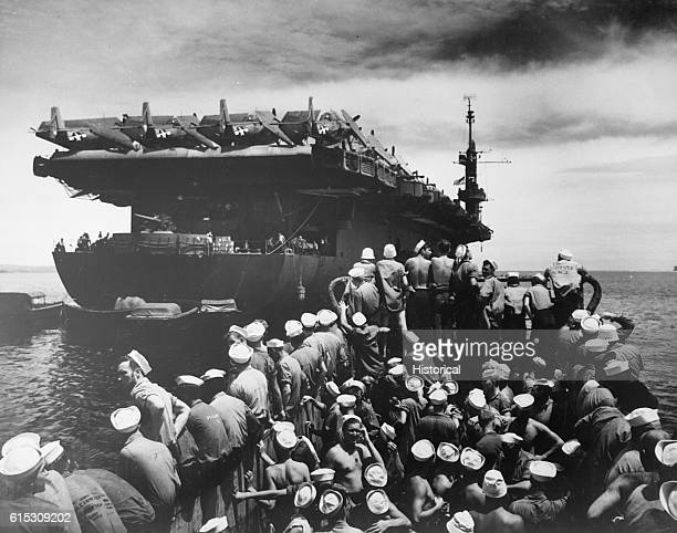 Liberty section personnel aboard LCM returning toUSS Casablanca from Rara Island off Pitylieu Island Manus Admiralty Islands April 19 1945 | Location...