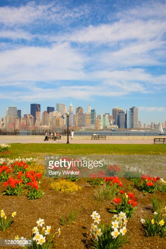 Liberty State Park, Jersey City, New Jersey, with views of Lower Manhattan in distance