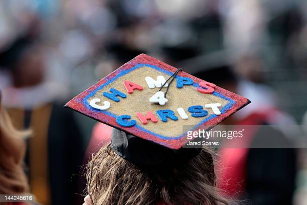 Liberty University graduate sports a decorated cap during commencement ceremonies at Arthur L Williams Stadium on the campus of Liberty University on...