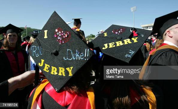 Liberty University graduating students wear 'I Love Jerry' caps during the school's 34th commencement ceremony the first without Rev Jerry Falwell...