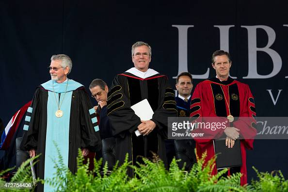 Liberty University Provost Ronald Hawkins Republican US presidential hopeful and former Florida governor Jeb Bush and Liberty University president...