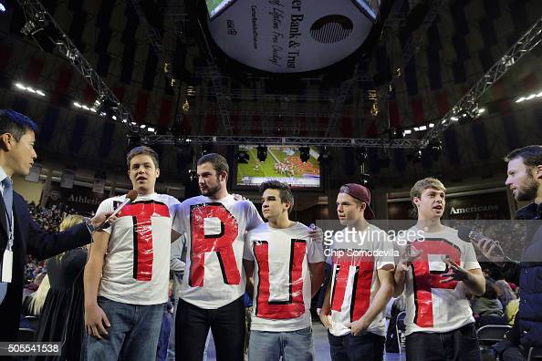 Liberty University students Austin Miller James Ford Jeremy Boyd Josiah O'Boyle and Cody Hildebrand wear home made tshirts spelling 'TRUMP' while...