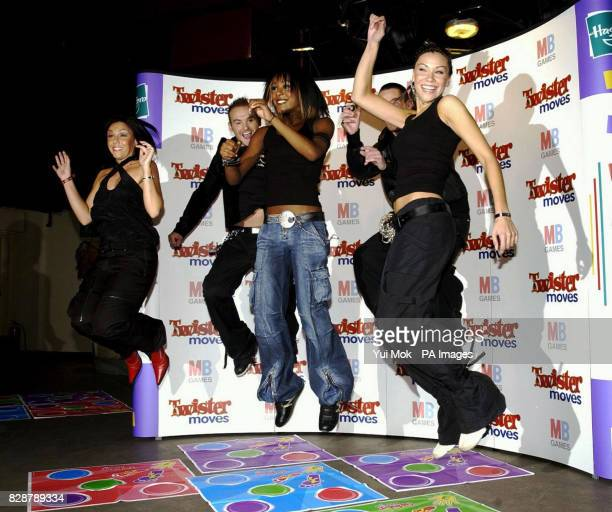 Liberty X demonstrating their dance skills at the launch of the new game Twister Moves held at the Cc Club in central London MB's Twister Moves is a...