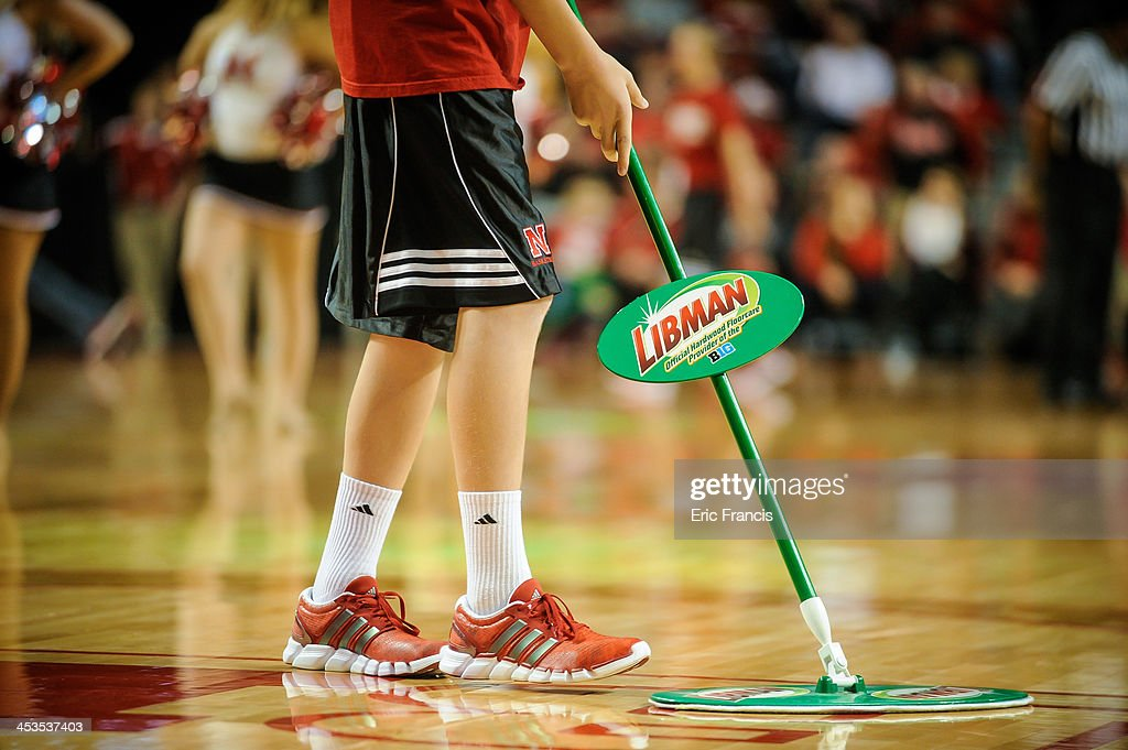 Libman floor cleaners during the game between Nebraska Cornhuskers and South Carolina State Bulldogs at Pinnacle Bank Arena on November 17, 2013 in Lincoln, Nebraska.