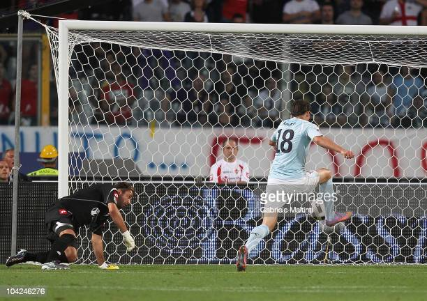 Libor Kozac of SS Lazio scores their first goal during the Serie A match between Fiorentina and Lazio at Stadio Artemio Franchi on September 18 2010...