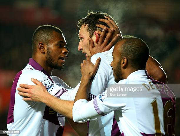 Libor Kozak of Aston Villa celebrates as he scores their second goal with Leandro Bacuna and Fabian Delph during the Barclays Premier League match...
