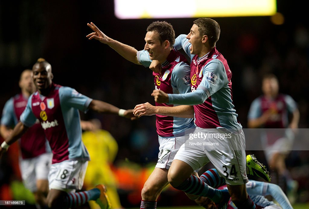Libor Kozak of Aston Villa celebrates for Aston Villa during the Barclays Premier League match between Aston Villa and Cardiff City at Villa Park on November 09, 2013 in Birmingham, England.