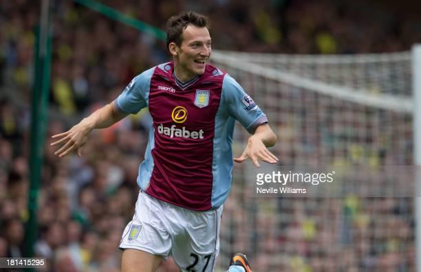 Libor Kozak of Aston Villa celebrates scoring for Aston Villa during the Barclays Premier League match between Norwich City and Aston Villa at Carrow...