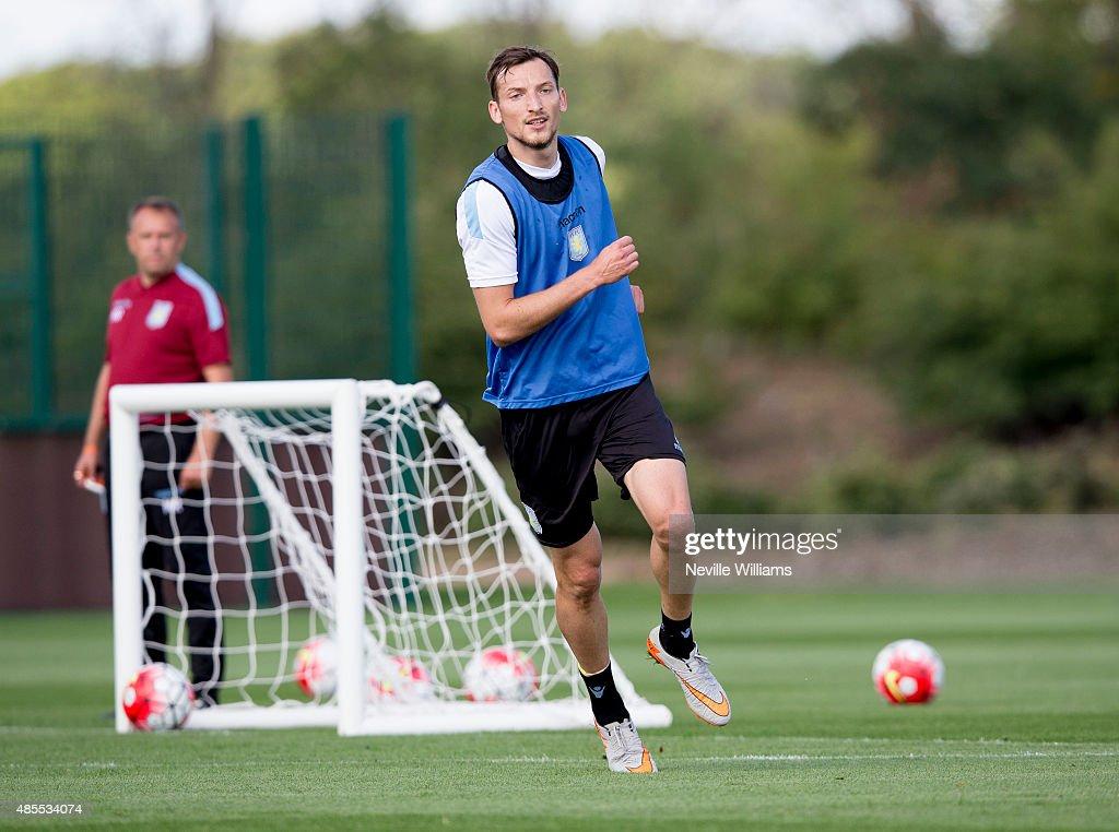 Libor Kozak of Aston Villa in action during a Aston Villa training session at the club's training ground at Bodymoor Heath on August 28, 2015 in Birmingham, England.