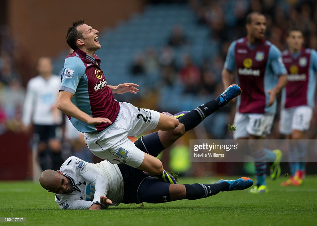 Libor Kozak of Aston Villa is challenged by Sandro of Tottenham Hotspur during the Barclays Premier League match between Aston Villa and Tottenham Hotspur at Villa Park on October 20, 2013 in Birmingham, England.