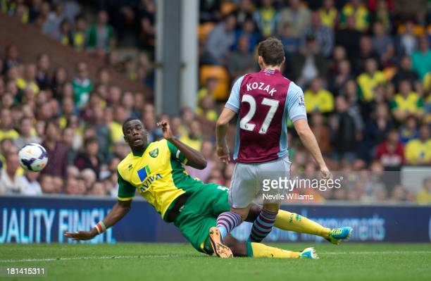 Libor Kozak of Aston Villa scores during the Barclays Premier League match between Norwich City and Aston Villa at Carrow Road on September 21 2013...