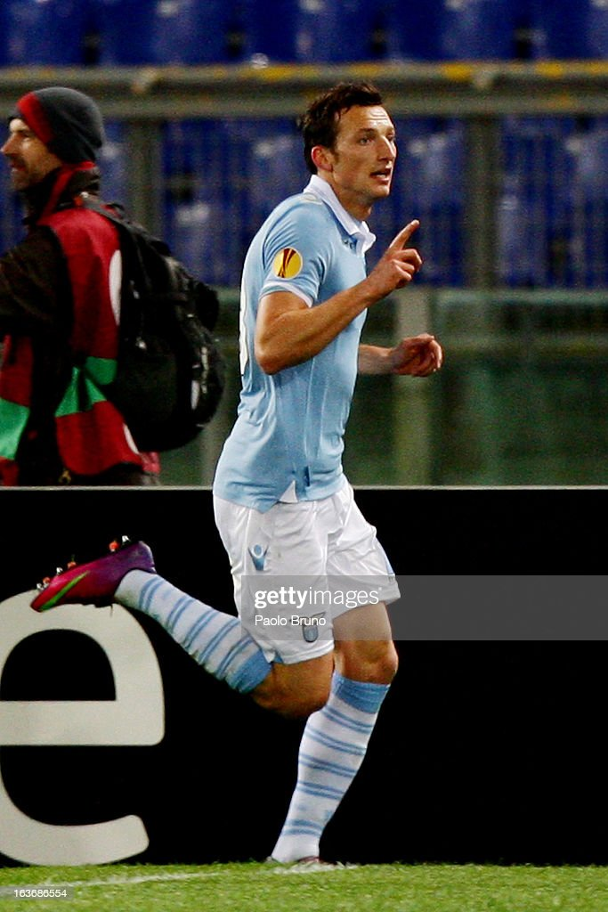 Libor Kozak #18 of S.S. Lazio celebrates after scoring the opening goal during the UEFA Europa League Round of 16 second leg match between S.S. Lazio and VfB Stuttgart at Stadio Olimpico on March 14, 2013 in Rome, Italy.