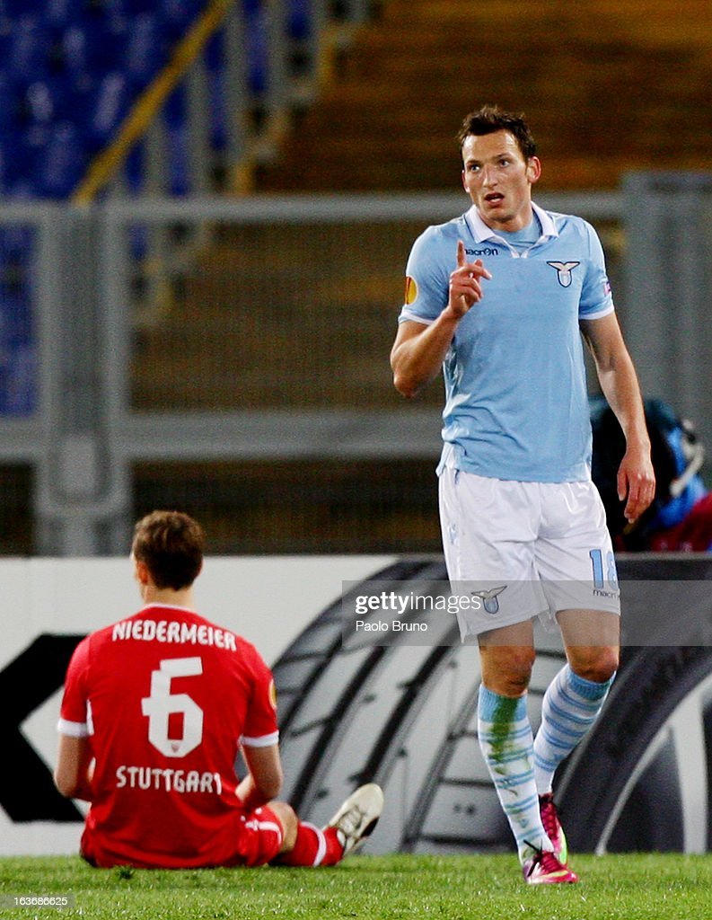 Libor Kozak #18 of S.S. Lazio celebrates after scoring the second team's goal during the UEFA Europa League Round of 16 second leg match between S.S. Lazio and VfB Stuttgart at Stadio Olimpico on March 14, 2013 in Rome, Italy.