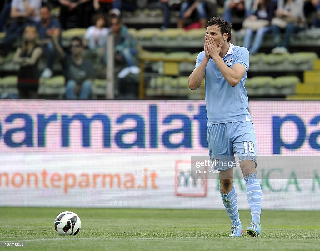 Libor Kozak of S.S. Lazio dejected during the Serie A match between Parma FC and S.S. Lazio at Stadio Ennio Tardini on April 28, 2013 in Parma, Italy.