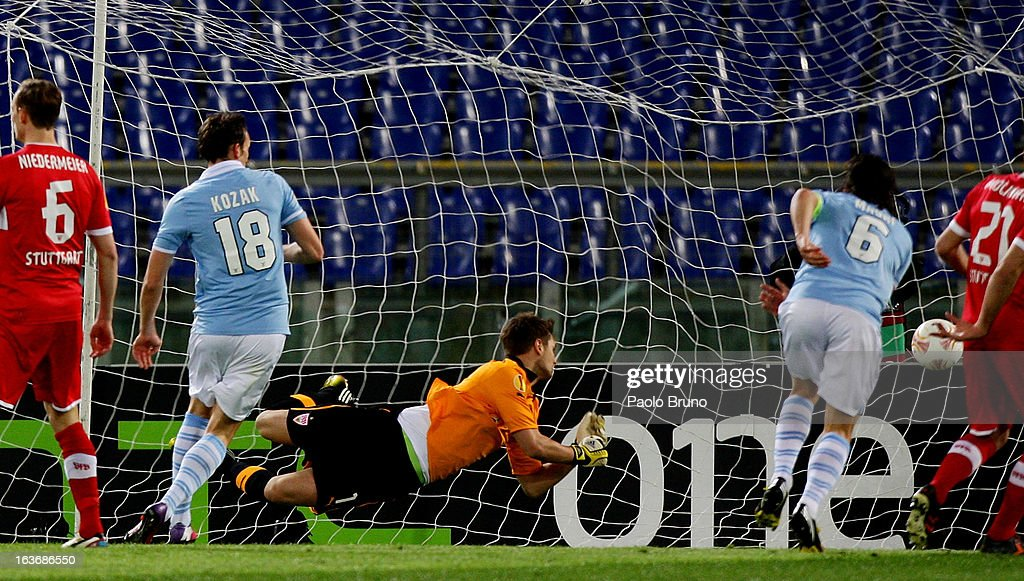 Libor Kozak #18 of S.S. Lazio scores the opening goal during the UEFA Europa League Round of 16 second leg match between S.S. Lazio and VfB Stuttgart at Stadio Olimpico on March 14, 2013 in Rome, Italy.