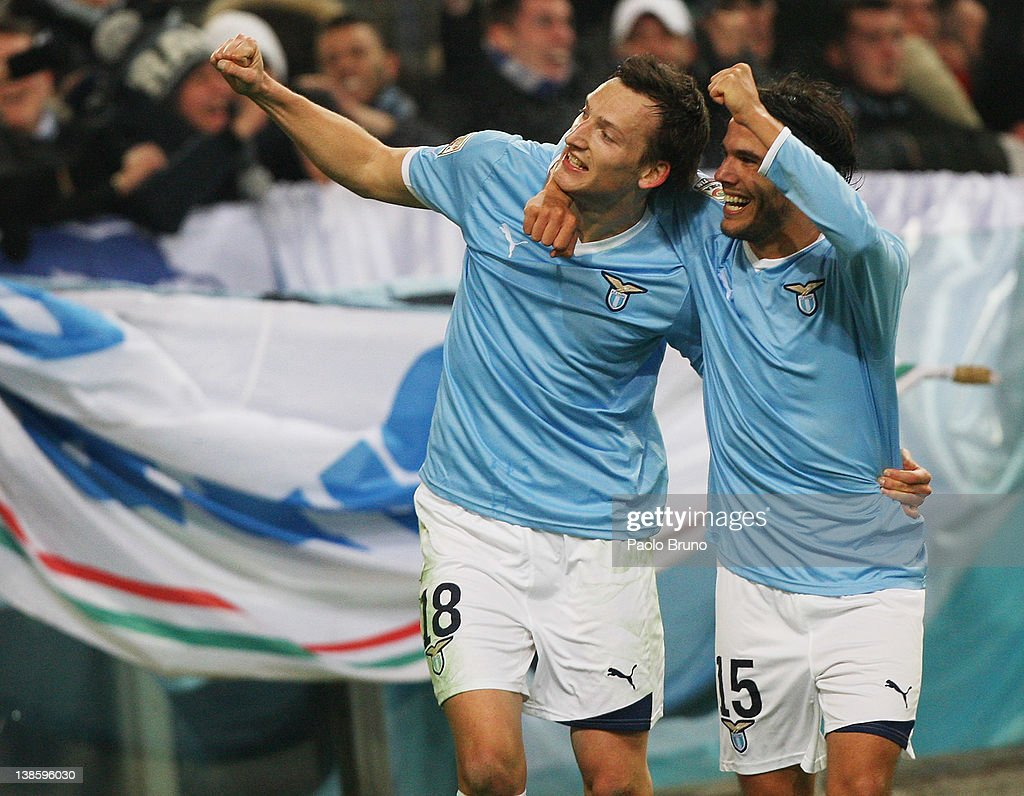 Libor Kozak (L) with his teammate <a gi-track='captionPersonalityLinkClicked' href=/galleries/search?phrase=Alvaro+Gonzalez+-+Soccer+Player&family=editorial&specificpeople=2261829 ng-click='$event.stopPropagation()'>Alvaro Gonzalez</a> of SS lazio celebrates after scoring the third goal during the Serie A match between SS Lazio and AC Cesena at Stadio Olimpico on February 9, 2012 in Rome, Italy.